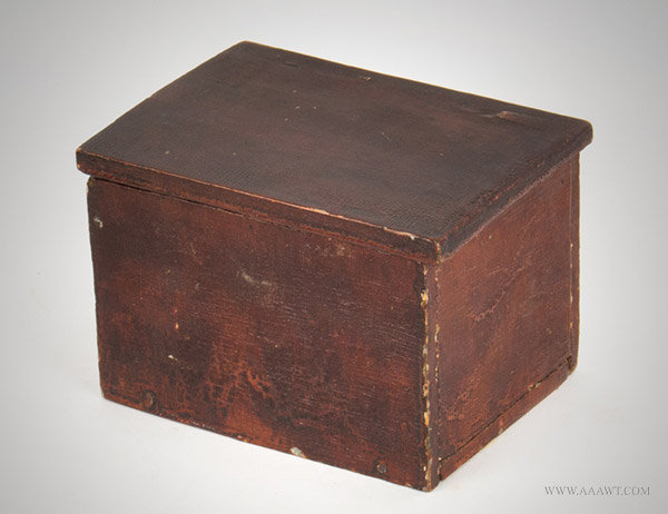 Antique Lidded Trinket Chest/Box with Make Do 'H' Hinge, 19th Century, angle view