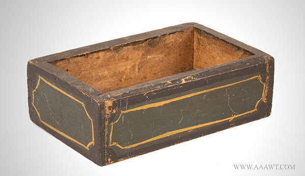 Antique Open Top Sewing Box in Original Green Paint, 19th Century, angle view