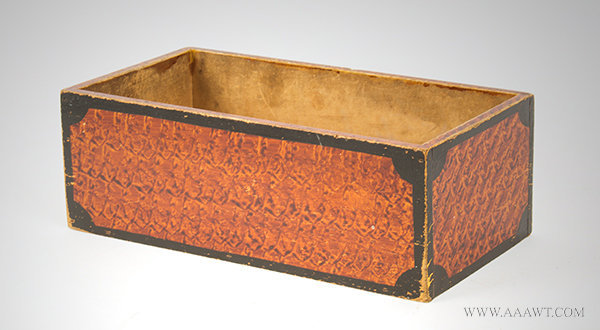 Antique Paint Decorated Open Top Box with Original Vinegar Grained Decoration, 19th Century, angle view