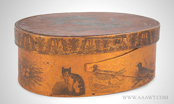 Oval Band Box, Spice, Pantry, Harvard Type, Transfer Decoration New England, 19th Century, entire view