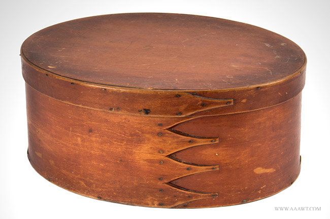 Antique Oval Shaker Bentwood Box with Fitted Interior, Circa 1845, angle view