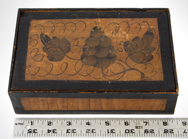 Antique Paint Decorated Trinket Box with Inscription Under Lid, 1830's, with ruler for scale