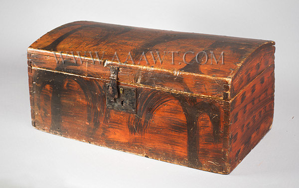 Dome Top Trunk, Box, Original Paint, Broad Black Brushstrokes on Red New England, Early 19th Century, entire view