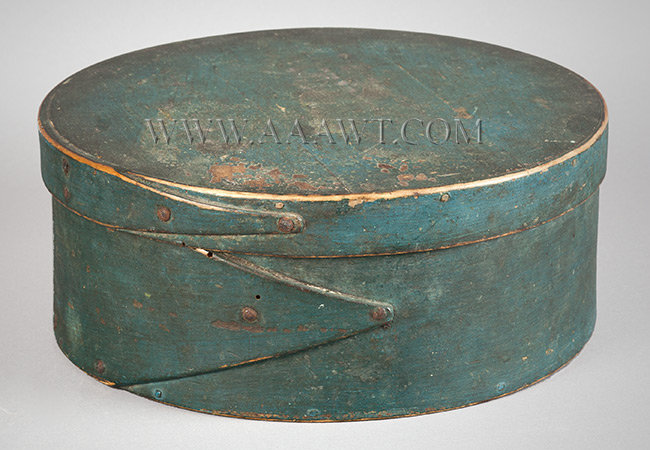 Pantry Box, Cheese Box, Original Blue Paint, Tapered laps  Eighteenth Century  New England, entire view