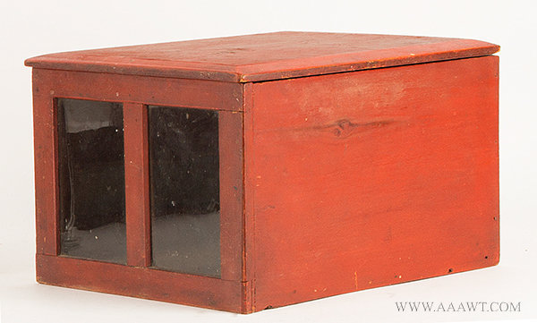 Antique Country Store Lift Top Box with Glazed Glass Panels, 19th Century, angle view