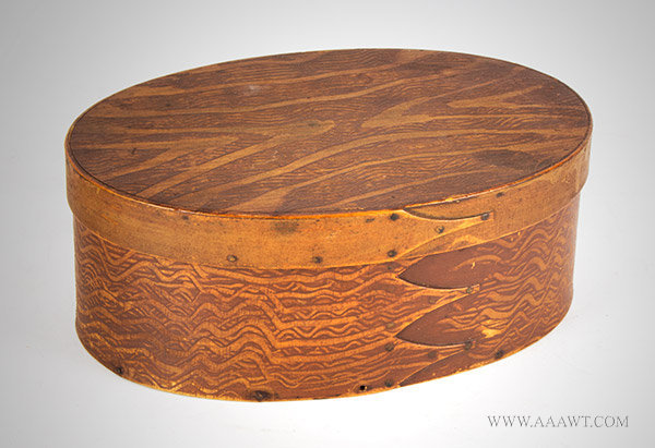 Shaker Box, Oval, Bentwood, Pantry, Original Surface History, Faux Graining New England, 19th Century, entire view