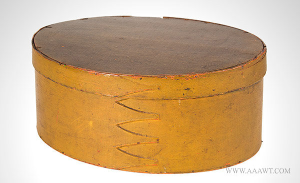 Shaker Box, Oval, Bentwood, Pantry, Original Painted Surface History New England, 19th Century, entire view