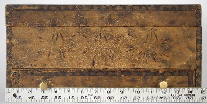 Antique Paint Decorated Dresser Box in Original Surface, New England, 19th Century, with ruler for scale