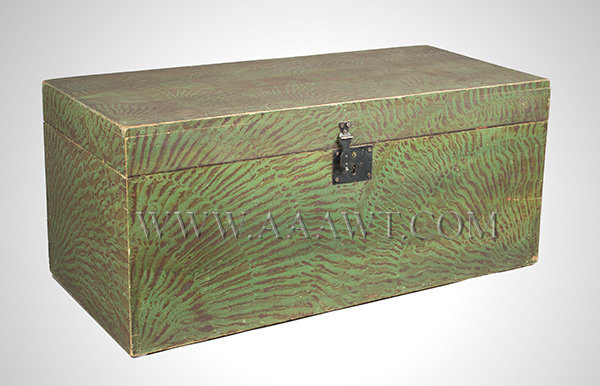 Paint Decorated Trunk, Flat Top, Rag Rolled, Green and Reddish Brown New England Circa 1830, entire view