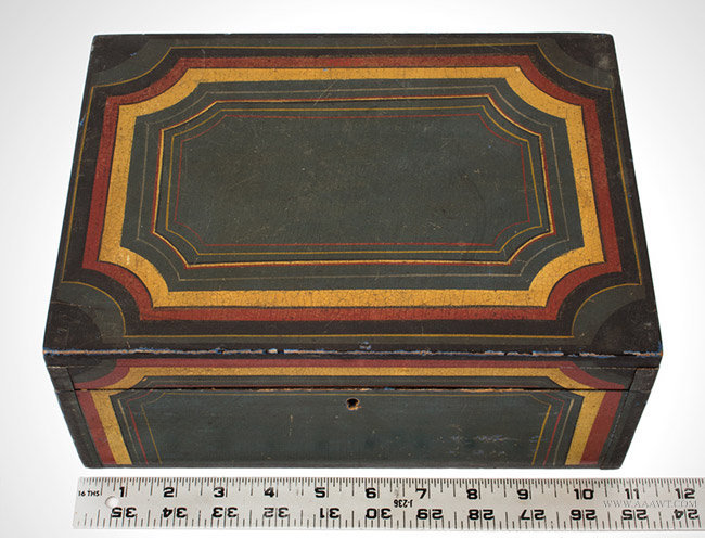 Antique Paint Decorated Writing Box with Red, Yellow and Black Decoration, 19th Century, with ruler for scale