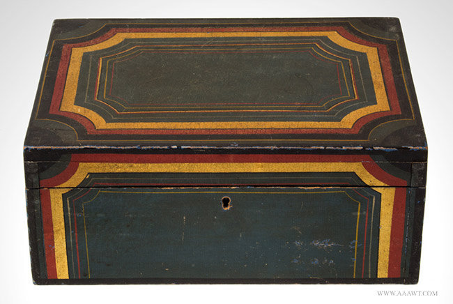 Antique Paint Decorated Writing Box with Red, Yellow and Black Decoration, 19th Century, entire view