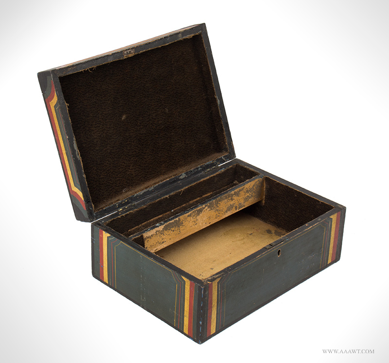 Antique Paint Decorated Writing Box with Red, Yellow and Black Decoration, 19th Century, open view