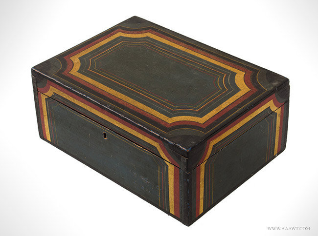Antique Paint Decorated Writing Box with Red, Yellow and Black Decoration, 19th Century, angle view