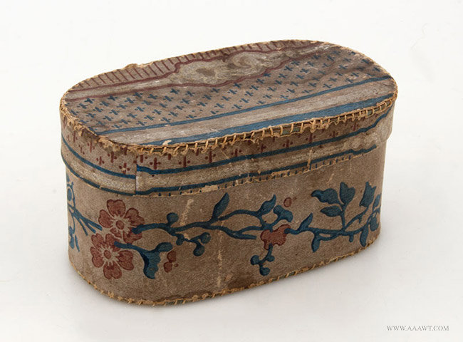 Antique Blue and Mauve Floral Wallpaper Covered Box, 19th Century, angle view