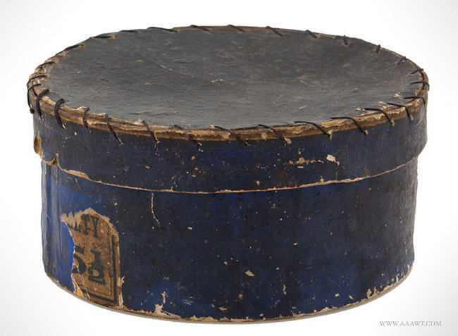 Antique Round Band Box in Blue Paper, Contains Old Recipies, angle view