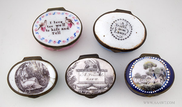 Lot of Five Battersea Patch Boxes, Circa 1775 to 1800, entire view