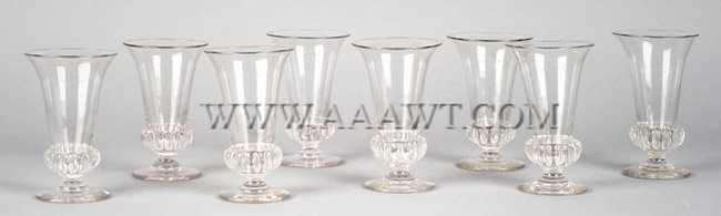 Antique Syllabub Glasses, Set of Eight with Gadrooned Bases
