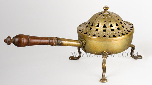 Censor, Incense Burner, Brass, Original Turned Walnut Handle Anonymous Circa 1750, entire view