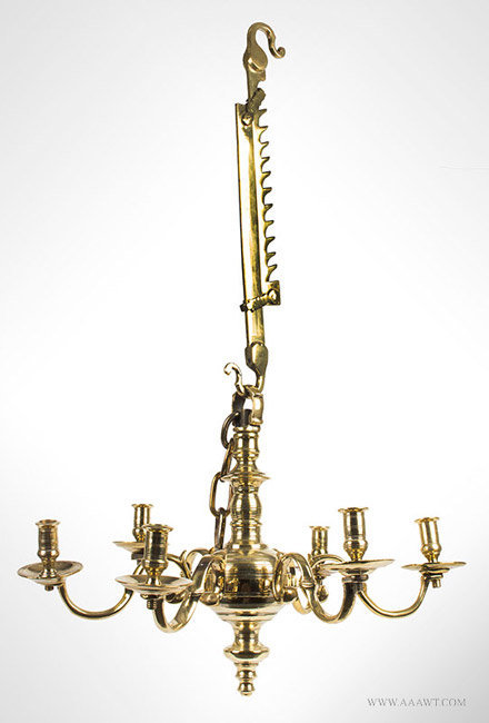 Antique Baroque Brass Chandelier with Six Scroll Arms, English, Circa 1725, entire view