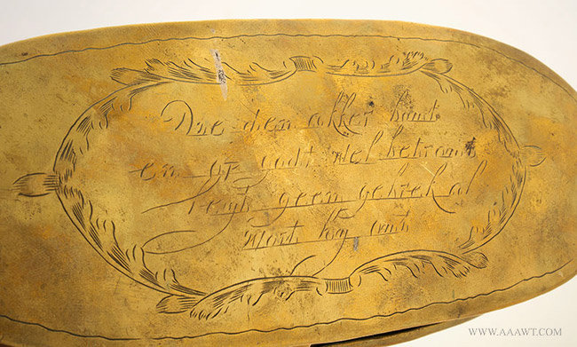 Antique Large Brass Tobacco Box with Village and Farm Scene, Dutch, 18th Century, engraved text detail