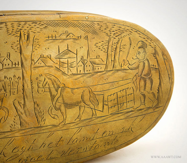 Antique Large Brass Tobacco Box with Village and Farm Scene, Dutch, 18th Century, engraving detail 2