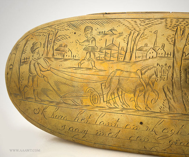 Antique Large Brass Tobacco Box with Village and Farm Scene, Dutch, 18th Century, engraving detail 1