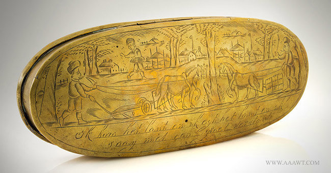 Antique Large Brass Tobacco Box with Village and Farm Scene, Dutch, 18th Century, entire view