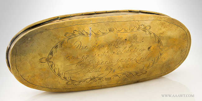 Antique Large Brass Tobacco Box with Village and Farm Scene, Dutch, 18th Century, back entire view