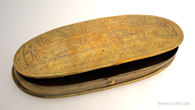 Antique Large Brass Tobacco Box with Village and Farm Scene, Dutch, 18th Century, open view