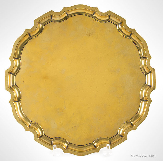 Antique Brass Salver/Rococo Tray with Pie Crust Edge, Circa 1780, entire view