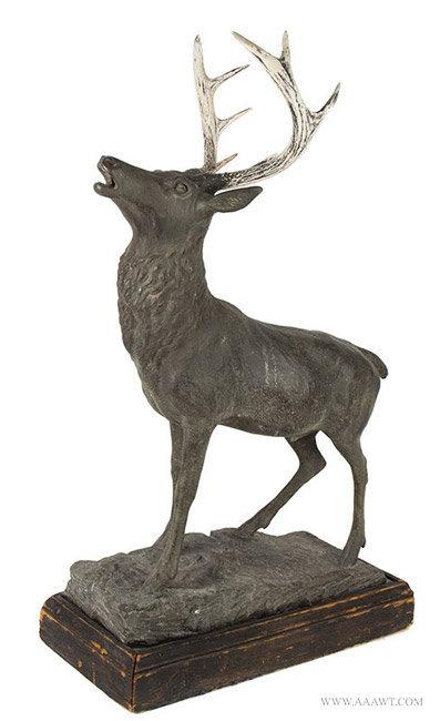 Antique Zinc Sculpture of an Elk Bull, Circa 19th Century, angle view 1