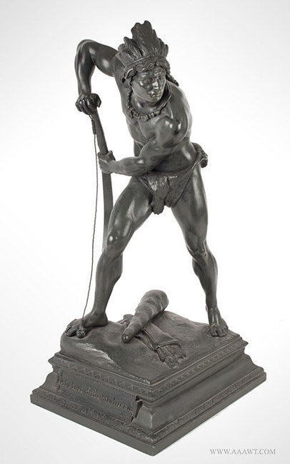 Antique Bronze Sculpture, Last of the Mohicans, France, 19th Century, angle view