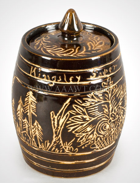 Stoneware, Lidded Jar, Sgraffito Decoration, Brownware    Probably Fort Edward, New York, Circa 1890's, entire view