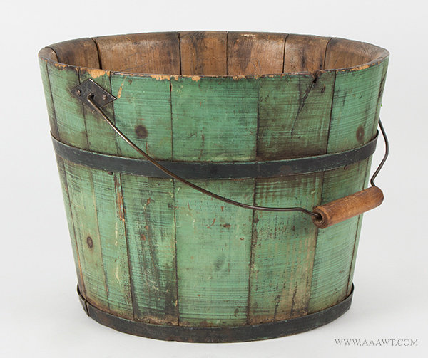 Sap Bucket, Original Apple Green Pained Pail, Bail Handle, Diamond Shaped Bail Plates, Iron Hoops New England, 19th Century, entire view