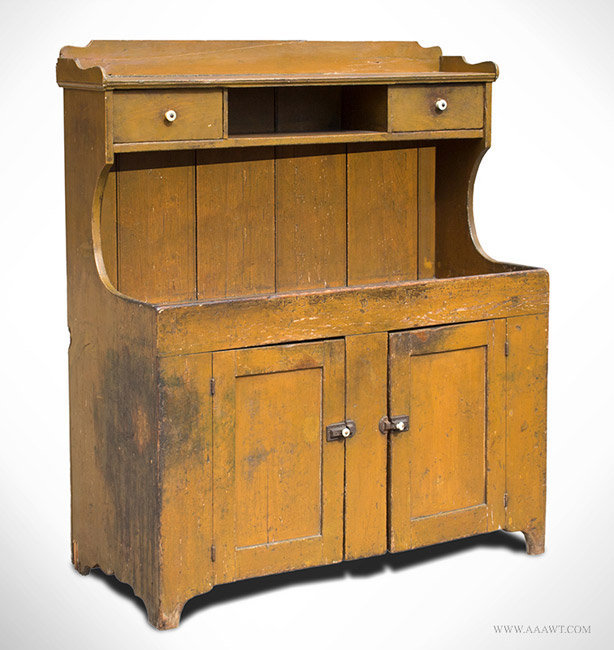 Antique Dry Sink with Galley in Mustard Paint, 19th Century, angle view