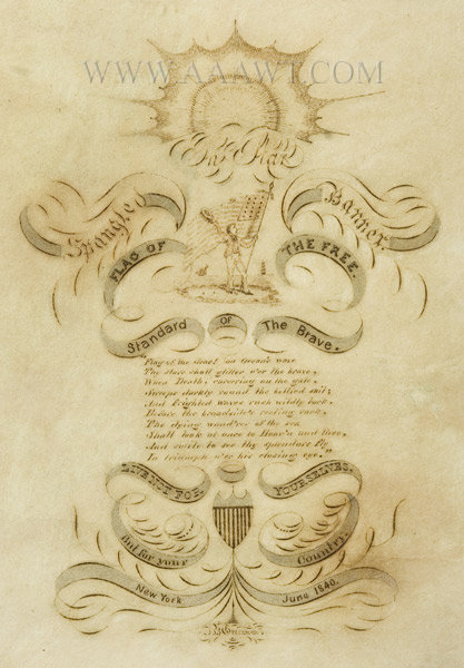 Antique Calligraphy, Star Spangled Banner, New York, June 1840, close up view
