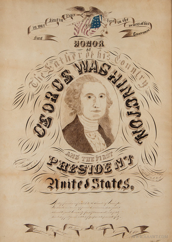 Antique Spencerian Pen and Ink Calligraphy Composition of George Washington, Circa 1860's, close up view