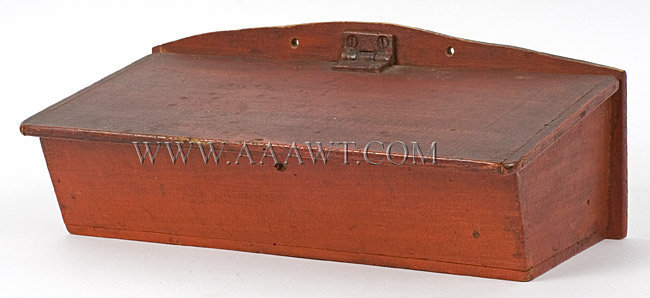 Candle Box, Wall Box, Canted Lid, Breadboard Ends, Original Lipstick Red Paint New England 19th Century, entire view