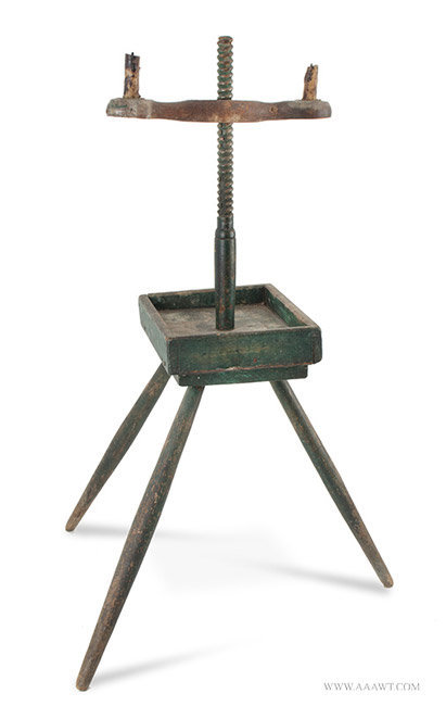 Antique Candlestand with Adjustable Height Candle Arm, Original Green Paint, Circa 1800, angle view