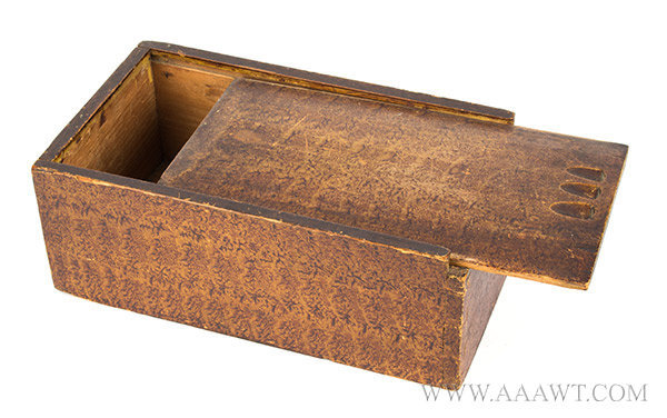 Candle Box, Slide Lid, Original pint Decoration, Dovetailed Joinery, Carved New England, Early 19th Century, entire view