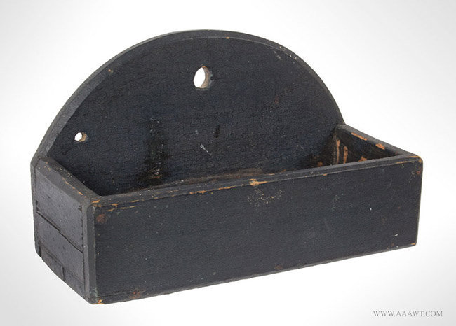 Antique Small Wall Box in Crusty Old Green Paint, New England, 19th Century, angle view