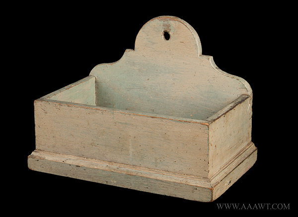 Antique Hanging Wall Box/Candle Box with Original Painted Surface History, angle view