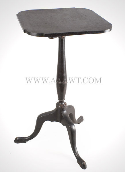 Antique Candlestand, Queen Anne, Tip Top, Old Black Paint New England, 18th Century, angle view