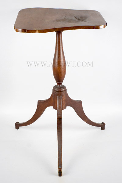 Candlestand, Maple, Possibly Original Surface, Potato Chip Top New England Circa 1800 to 1810, entire view
