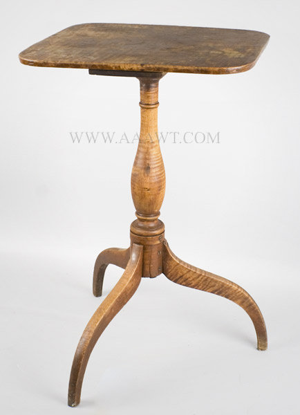 Candlestand, Original Surface, Curly Maple New England Circa 1800 to 1820, entire view