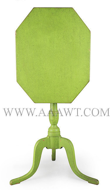 Federal Candlestand, Chartreuse Green Paint, Great Form, Different!  New England  Circa 1800, entire view