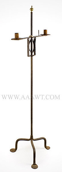 Candlestand, Wrought Iron Floor Type, Adjustable, Double Candle Sockets