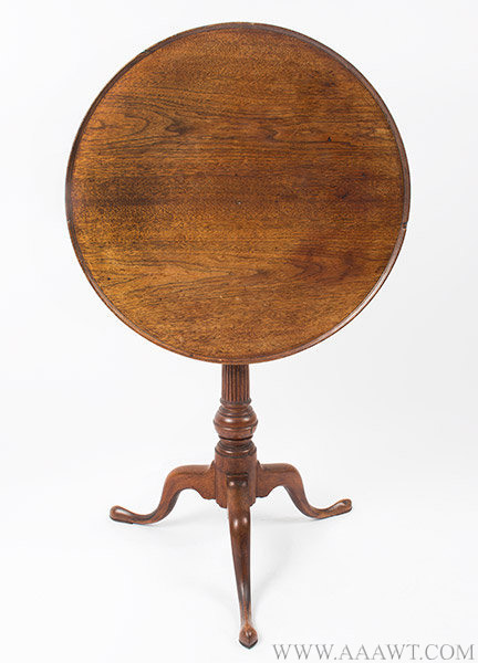 Candlestand, Circular Tilt and Dished Top, Birdcage Support, Belted Ball Pennsylvania, Likely Philadelphia, Circa 1750 to 1780, entire view 1