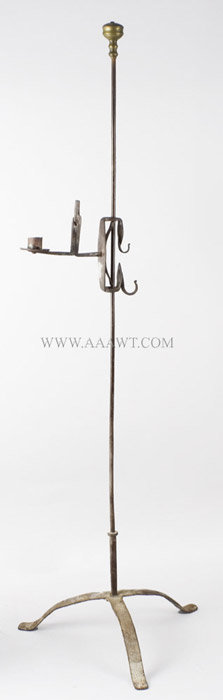 Floor Standing Candle and Rush Stand, Wrought Iron