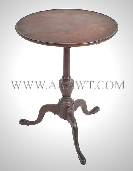 Candlestand, Circular Dished and Tilt Top, Great Surface Probably Massachusetts, Circa 1790, entire view 1